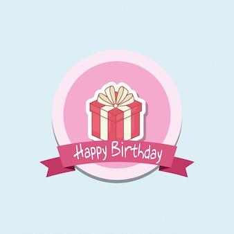 Gelukkige verjaardag badge met geschenkdoos