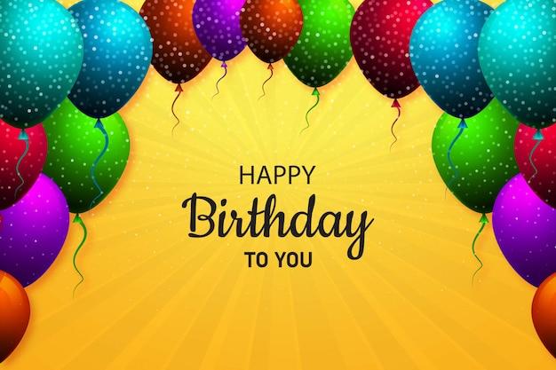 Gelukkige verjaardag ballonnen kaart achtergrond