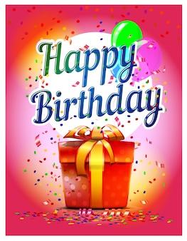 Gelukkige verjaardag-banner met cadeautjes en ballonnen. feestelijke illustratie