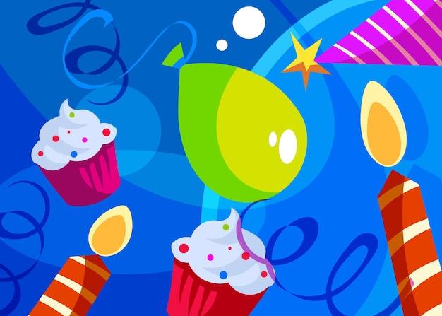 Gelukkige verjaardag banner met taarten en kaarsen. vakantie briefkaart ontwerp in cartoon stijl.