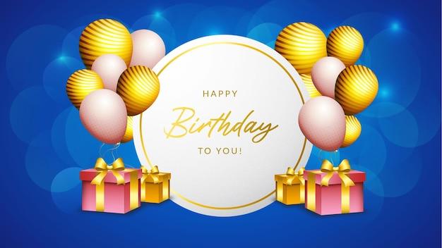 Gelukkige verjaardag banner of achtergrond ballonnen met doos en gouden luxe lint