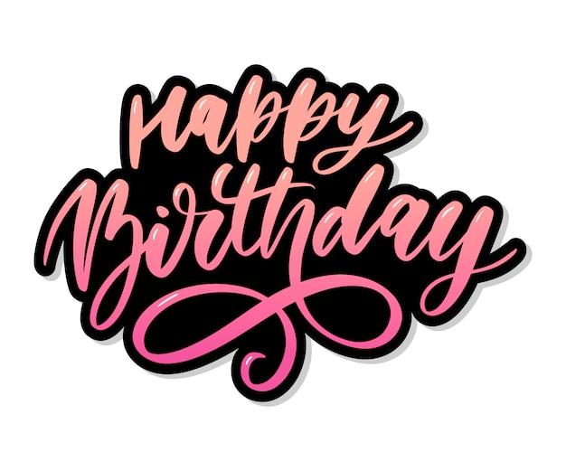 Gelukkige verjaardag belettering kalligrafie borstel kleurovergang sticker