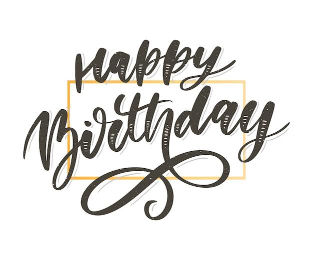 Gelukkige verjaardag belettering kalligrafie borstel verloop