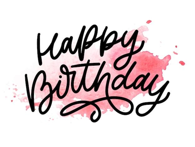 Gelukkige verjaardag belettering kalligrafie penseel typografie tekst illustratie