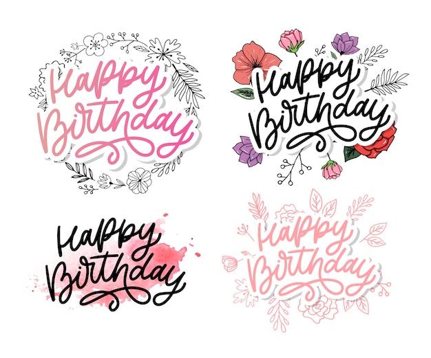 Gelukkige verjaardag belettering kalligrafie