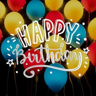 Gelukkige verjaardag belettering met afbeelding