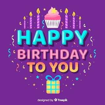 Gelukkige verjaardag belettering met cupcake