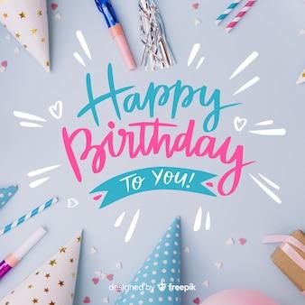 Gelukkige verjaardag belettering met foto