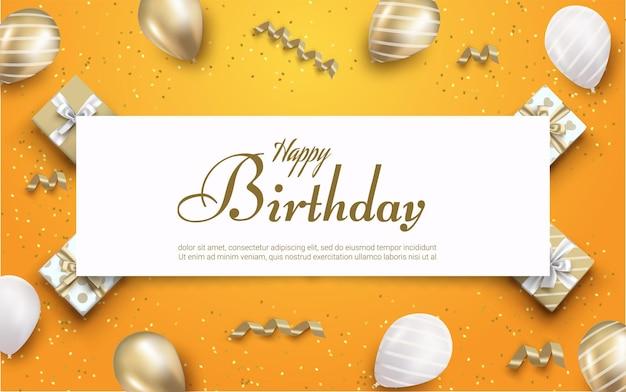 Gelukkige verjaardag belettering met geschenkdoos en ballonnen