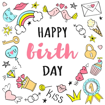 Gelukkige verjaardag belettering met girly doodles voor wenskaart of posters