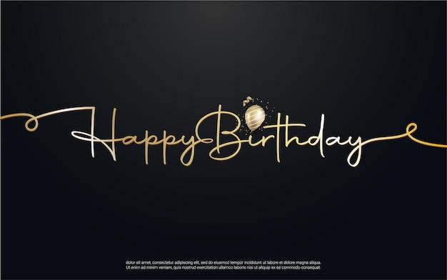 Gelukkige verjaardag belettering met realistische ballon