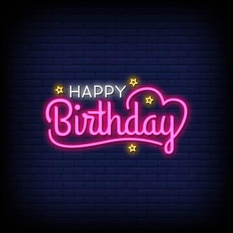 Gelukkige verjaardag belettering neon tekst