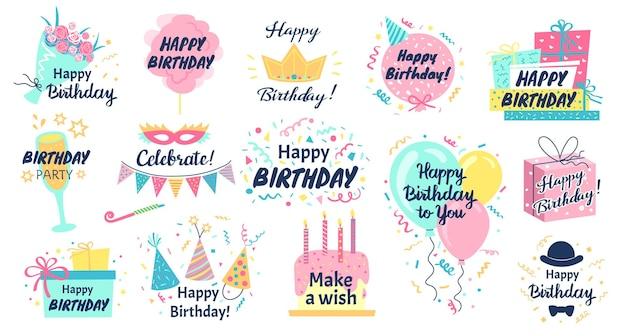 Gelukkige verjaardag belettering wenskaart met doodle elementen cake confetti ballonnen
