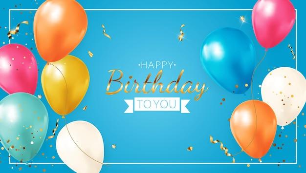 Gelukkige verjaardag blauwe banner met realistische ballonnen, frame en confetti.