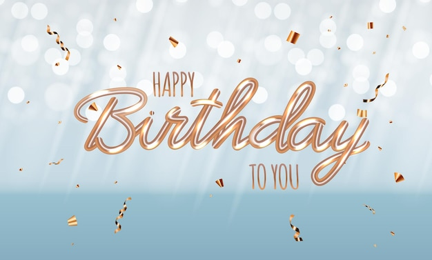 Gelukkige verjaardag blauwe glanzende achtergrond met confetti.