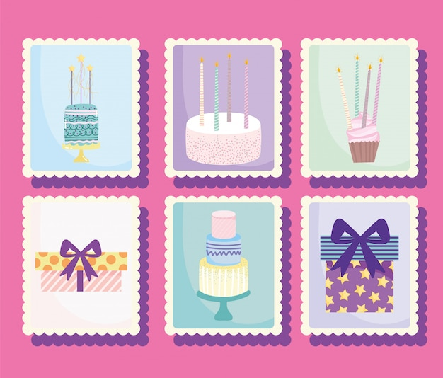 Gelukkige verjaardag, cadeau taarten cupcake kaarsen stickers cartoon viering decoratie