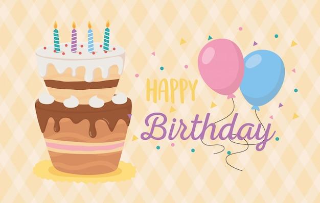 Gelukkige verjaardag, cake kaarsen ballonnen viering geruite achtergrond