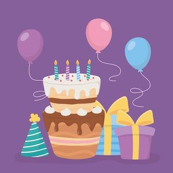 Gelukkige verjaardag, cake kaarsen geschenken hoed en ballonnen decoratie viering