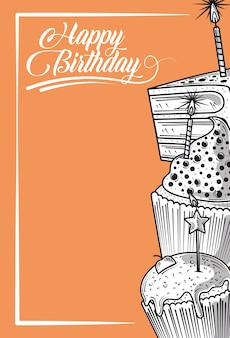 Gelukkige verjaardag cupcake en cake met kaars feest partij, gravure stijl oranje achtergrond
