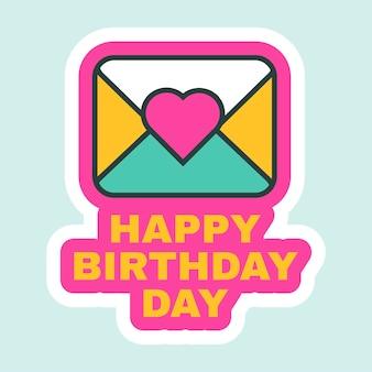 Gelukkige verjaardag dag briefpictogram platte retro design vectorillustratie. wenskaart, berichtmelding, briefkaart leuke cartoonsticker voor vakantie- of feestdecoraties