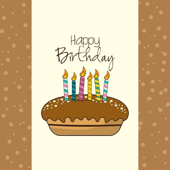 Gelukkige verjaardag decoratie met cake en kaarsen