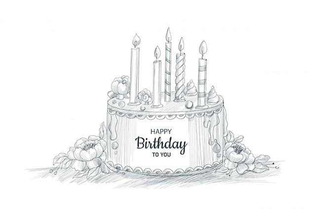 Gelukkige verjaardag decoratieve cake met kaarsen schets ontwerp