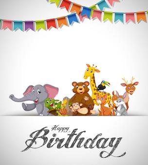Gelukkige verjaardag dieren kaart