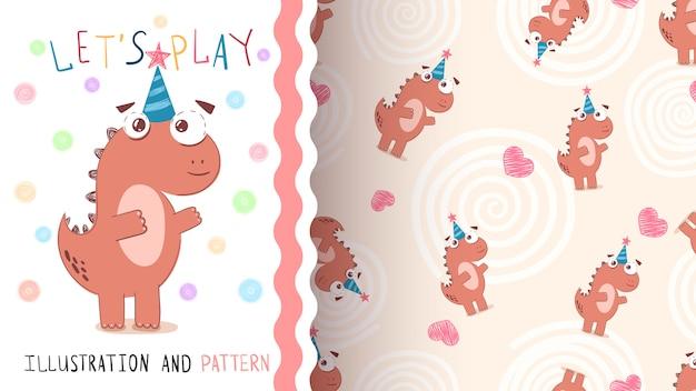 Gelukkige verjaardag dinosaurus - naadloos patroon