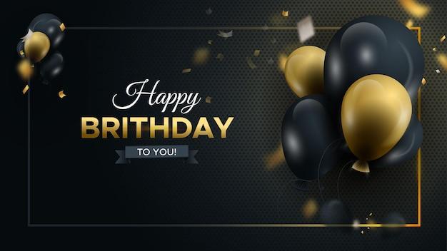 Gelukkige verjaardag donkere achtergrond met glanzende ballonnen met luxe ballonnen