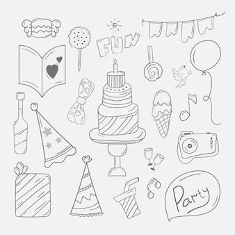 Gelukkige verjaardag doodle achtergrond in de hand getekende schets