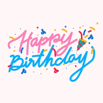 Gelukkige verjaardag doodle lettertype kaart