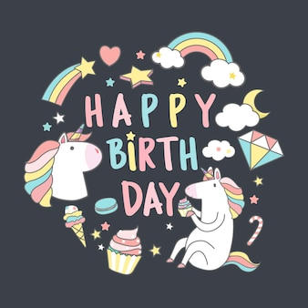 Gelukkige verjaardag eenhoorn met magische elementen kaart vector