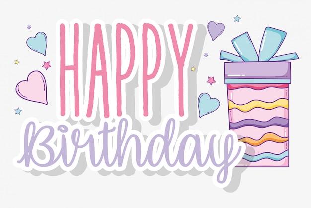 Gelukkige verjaardag en heden met lintboog