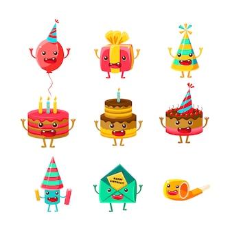 Gelukkige verjaardag en viering partij symbolen stripfiguren set, inclusief verjaardagstaart, feestmuts, ballon, feesthoorn en vuurwerk