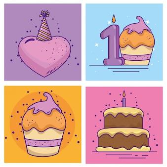 Gelukkige verjaardag-evenement met decoratie instellen