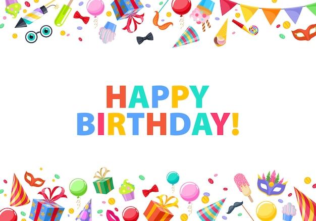 Gelukkige verjaardag - feest carnaval feestelijke achtergrond. kleurrijke symbolen - hoed, masker, geschenken, ballonnen, vuurwerk. uitnodiging of wenskaart.
