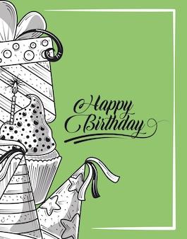 Gelukkige verjaardag feest hoed taart cadeau en feest, gravure stijl groene achtergrond