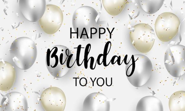 Gelukkige verjaardag feest partij banner met gouden ballonnen achtergrond. verkoop illustratie. grand opening card luxe groet rijk.