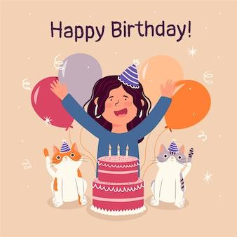Gelukkige verjaardag flyer ontwerpsjabloon