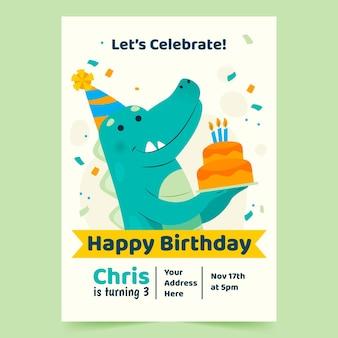Gelukkige verjaardag flyer-sjabloon met dinosaurus