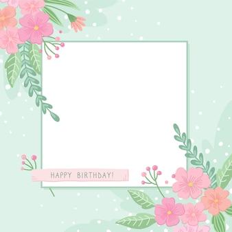 Gelukkige verjaardag frame met bloemen