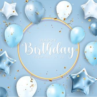 Gelukkige verjaardag gefeliciteerd bannerontwerp met confetti, ballonnen en glanzend glitterlint voor feestvakantie achtergrond. vectorillustratie eps10