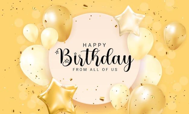 Gelukkige verjaardag gefeliciteerd bannerontwerp met confetti, ballonnen en glanzend glitterlint voor feestvakantie achtergrond. vectorillustratie