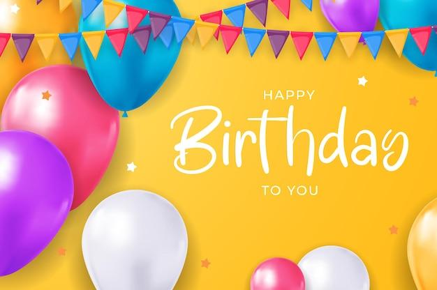 Gelukkige verjaardag gefeliciteerd bannerontwerp met confetti ballonnen voor feestvakantie achtergrond