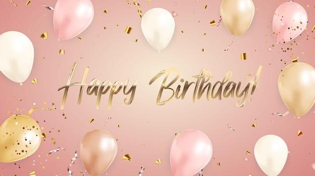 Gelukkige verjaardag gefeliciteerd bannerontwerp met confetti en ballonnen