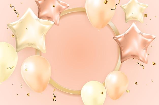 Gelukkige verjaardag gefeliciteerd bannerontwerp met confetti
