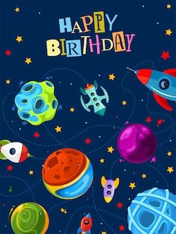 Gelukkige verjaardag geschenk kaart met schattige planeten en raketten