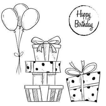 Gelukkige verjaardag geschenkdoos en ballon met schetsmatige stijl