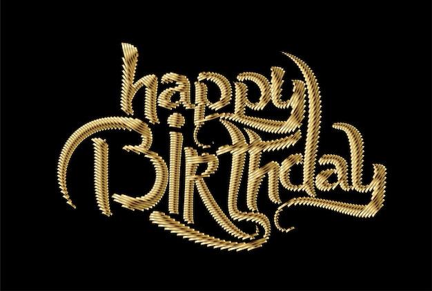 Gelukkige verjaardag gouden tekst gemaakt van handschrift vector design element.