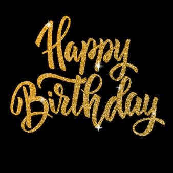 Gelukkige verjaardag. hand getrokken belettering zin in gouden stijl op donkere achtergrond. element voor poster, wenskaart. illustratie